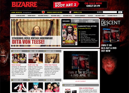 Bizarre Magazine website and social networking