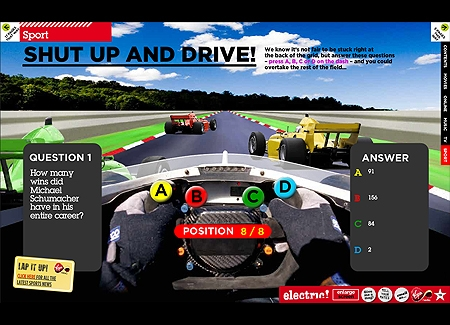 Formula One racing quiz game