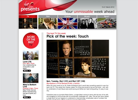 Virgin Media Presents Website